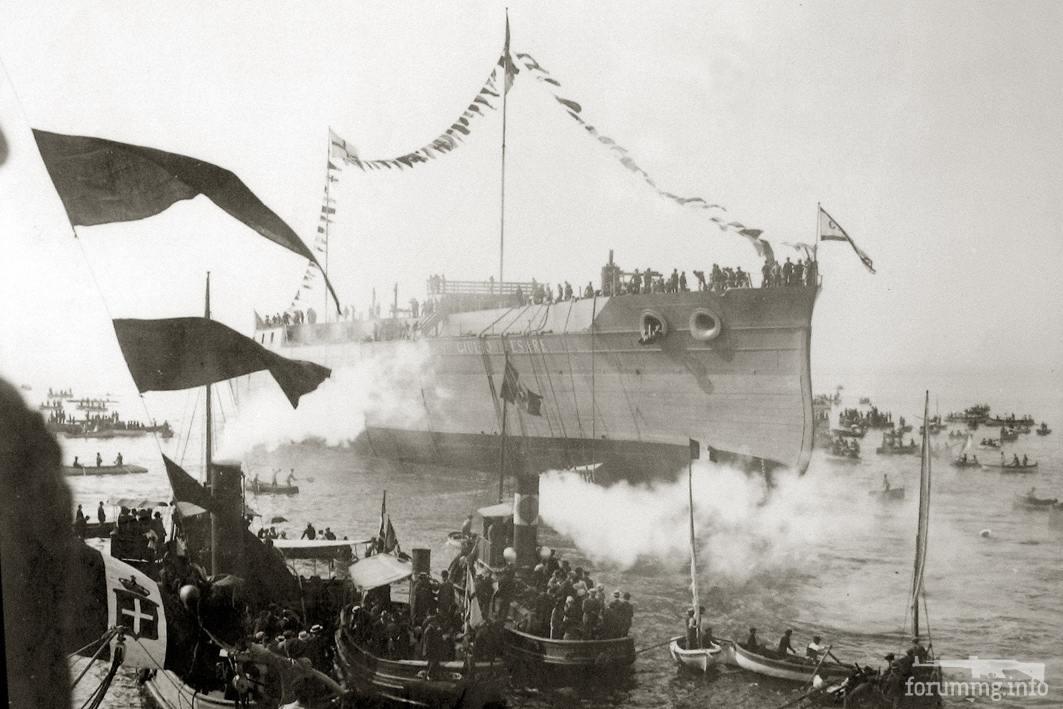 113740 - Спуск на воду линкора Giulio Cesare на верфи концерна Ansaldo & C, 15 октября 1911 г.