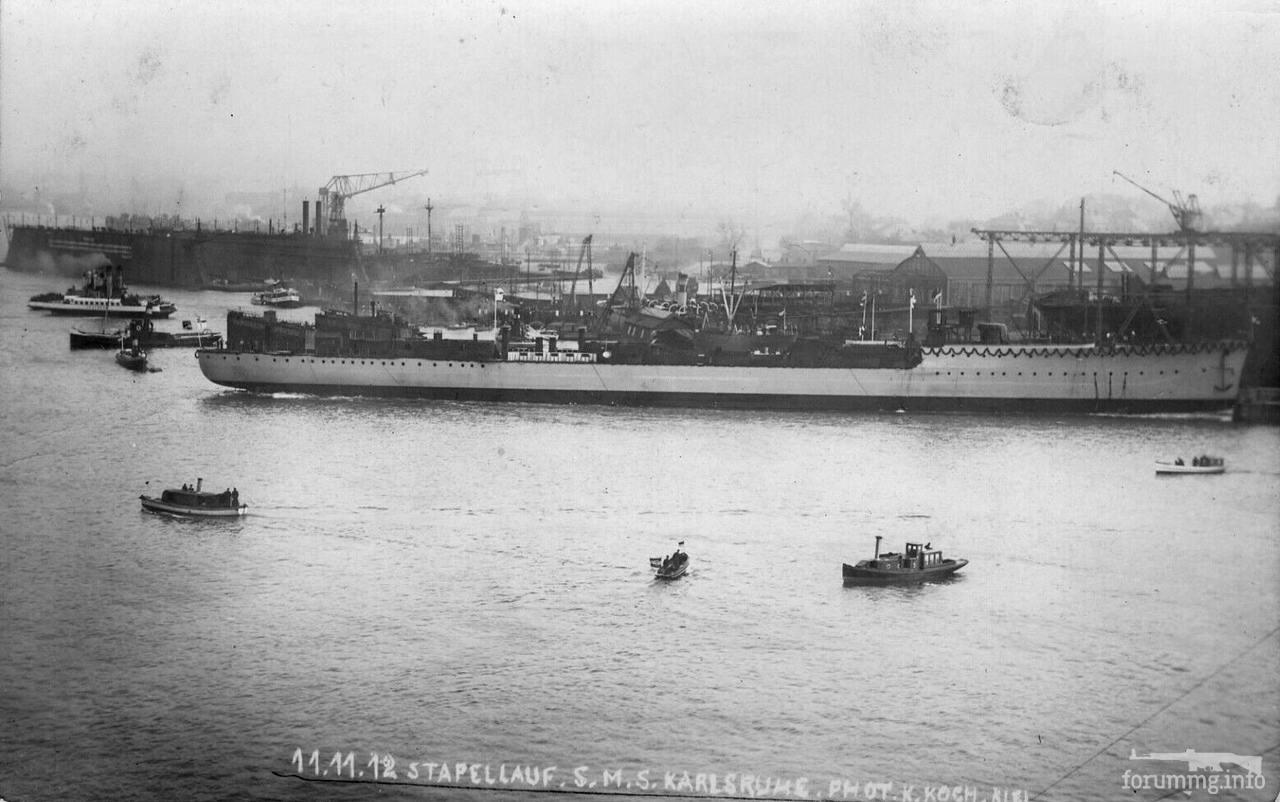 116612 - Легкий крейсер SMS Karlsruhe после спуска на воду, 1912 г.