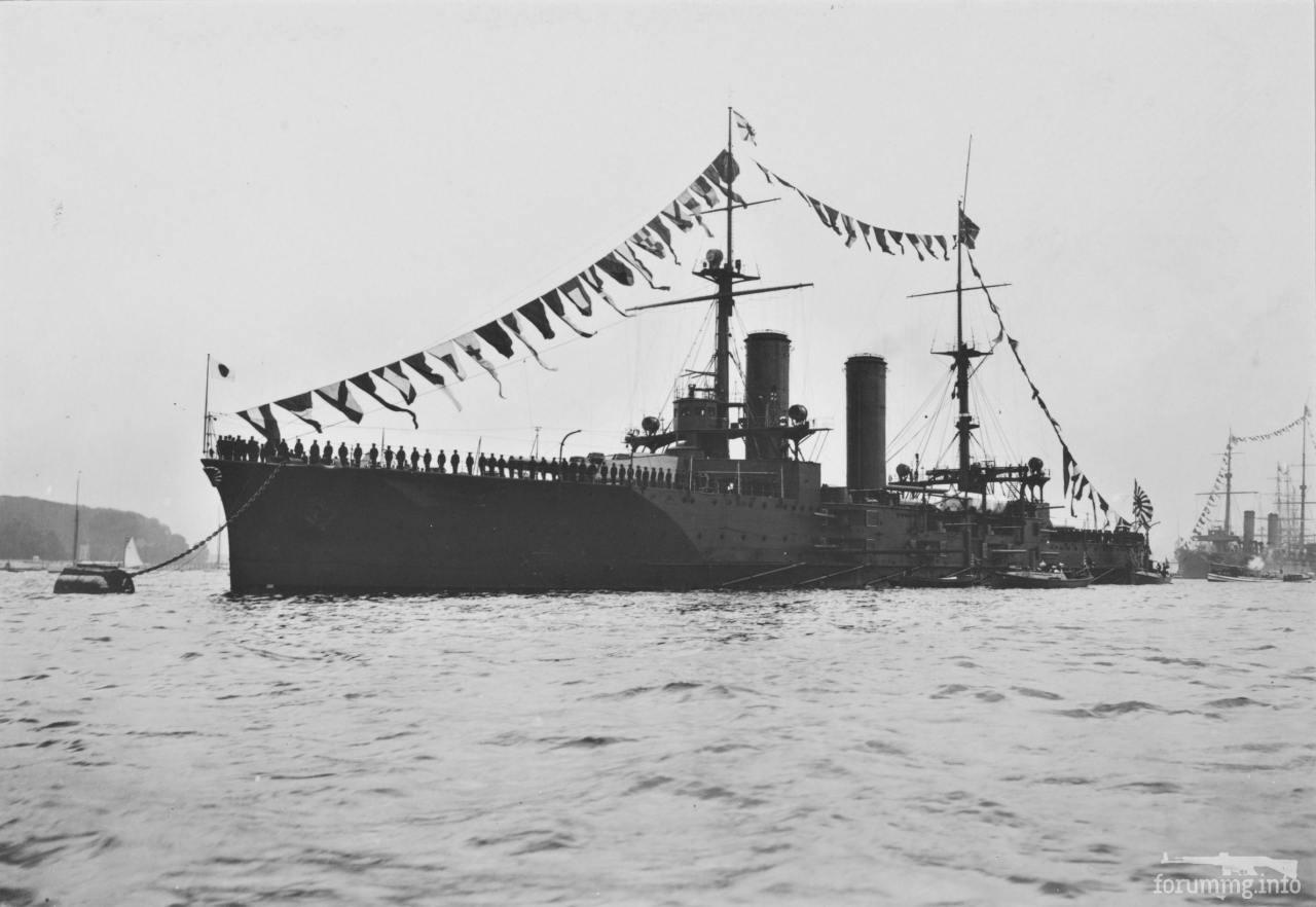 119152 - Броненосный крейсер IJN Tsukuba на параде в Киле, 24 июня 1907 г.