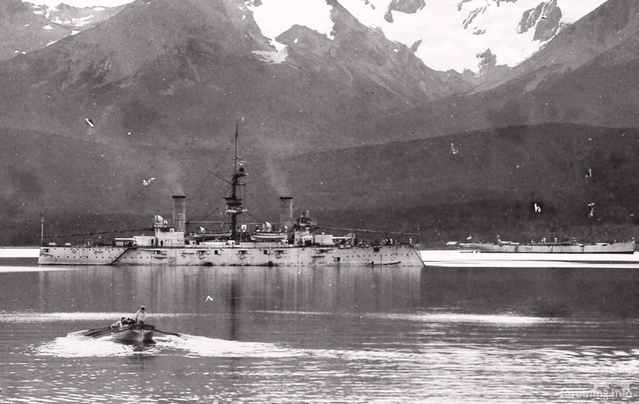 124819 - Аргентинский броненосный крейсер San Martin в порту Ушуайа, лето 1901 г.