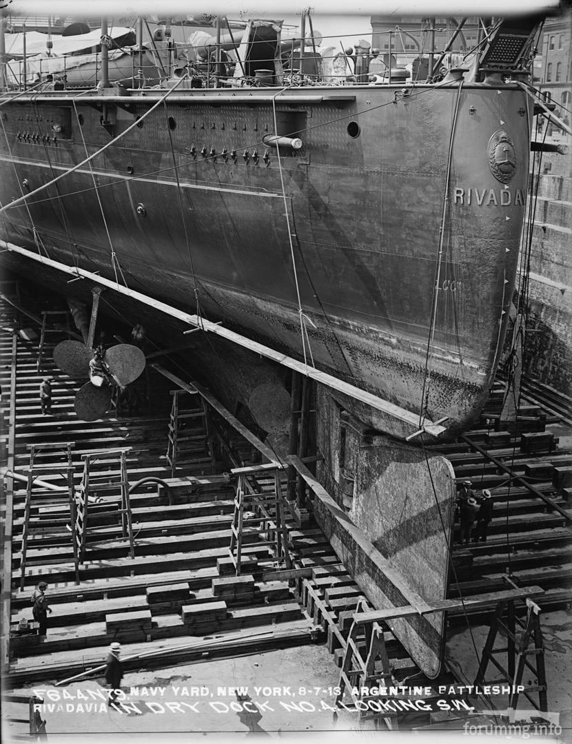127587 - Линкор Rivadavia в доке Бруклинской верфи, 7 августа 1913 г.