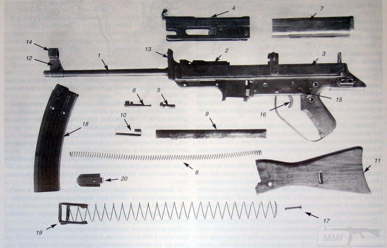12771 - Автомат Хорна, разборка: 1 – ствол, 2 – казённая часть, 3 – короб, 4 – затвор, 5 – газовый поршень торможения затвора, 6 – возвратное устройство газового поршня (пружина, гнеток пружины и соединительная коробка), 7 – крышка короба, 8 – возвратная пружина, 9 – трубка возвратной пружины с выступом-отражателем, 10 – упор возвратной пружины, 11 – приклад, 12 – основание мушки, 13 – целик, 14 – намушник, 15 – переводчик- предохранитель, 16 – спусковой крючок, 17 – замыкатель приклада, 18 – корпус магазина, 19 – подаватель с пружиной, 20 – крышка магазина.