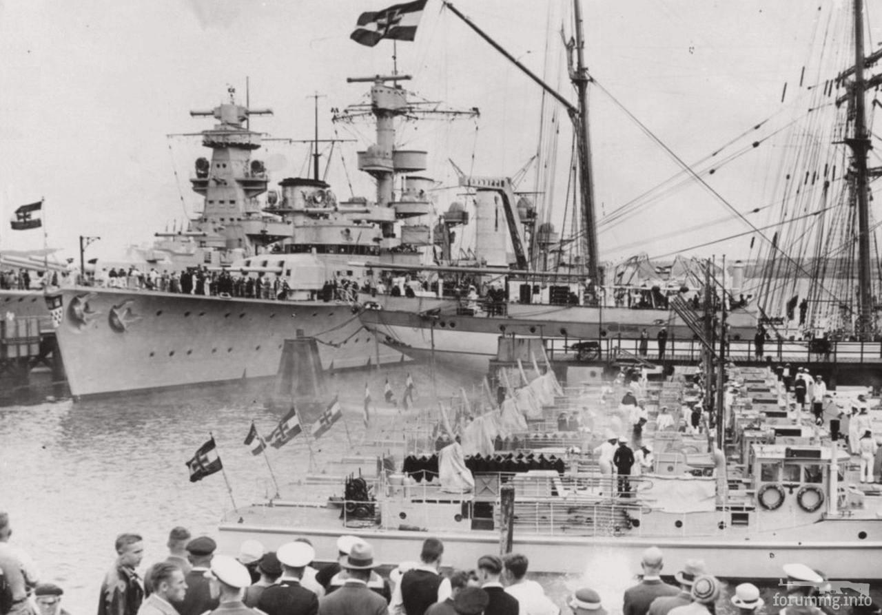 133153 - Легкий крейсер Köln и броненосец Admiral Scheer на открытии Кильской регаты, май 1935 г.