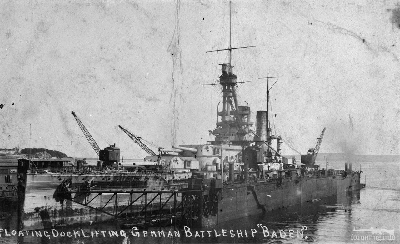 134252 - Линкор SMS Baden в плавучем доке на базе Инвергордон.