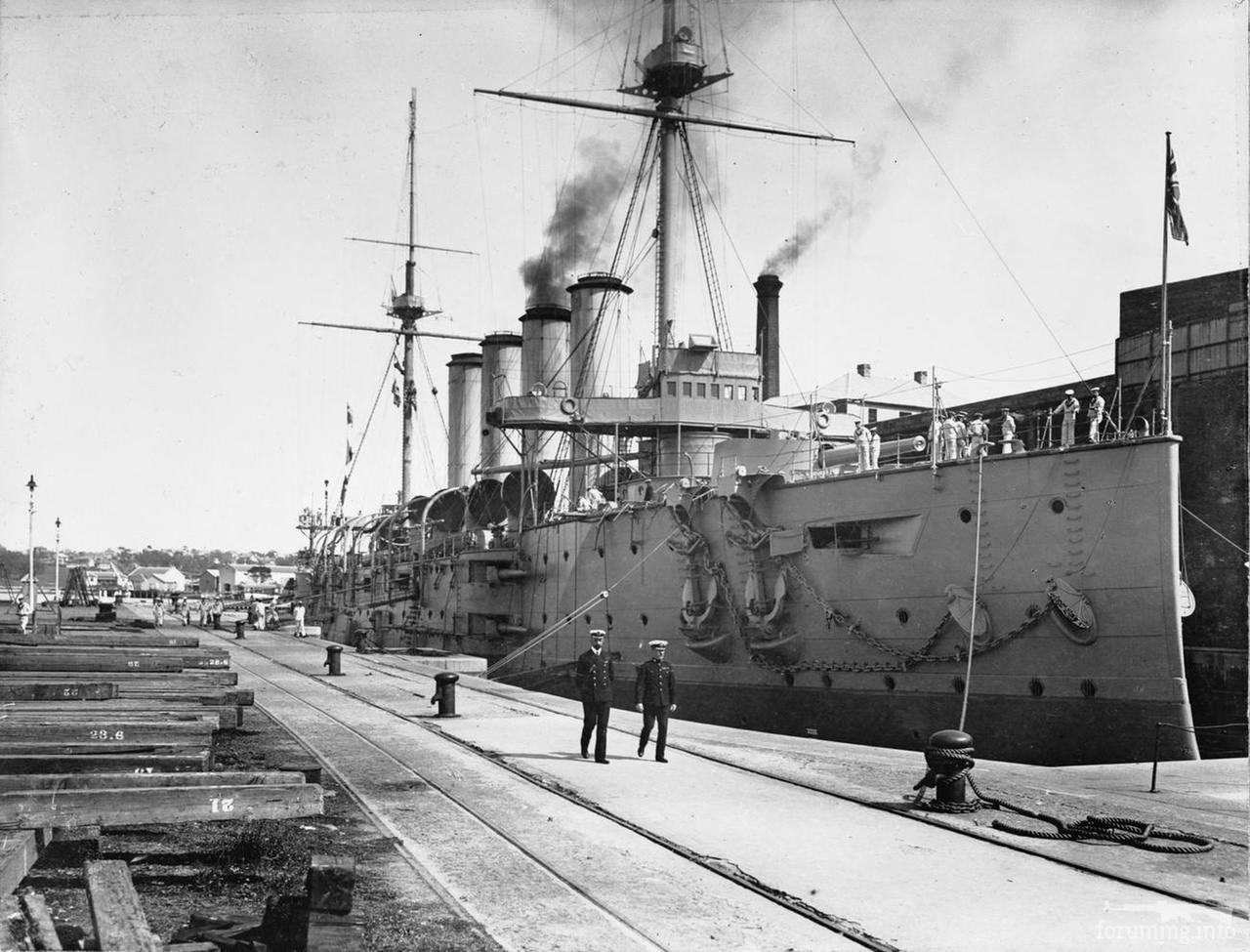 138057 - Броненосный крейсер HMS Euryalus в сухом доке острова Какаду, Сидней, 17.08.1905 г.