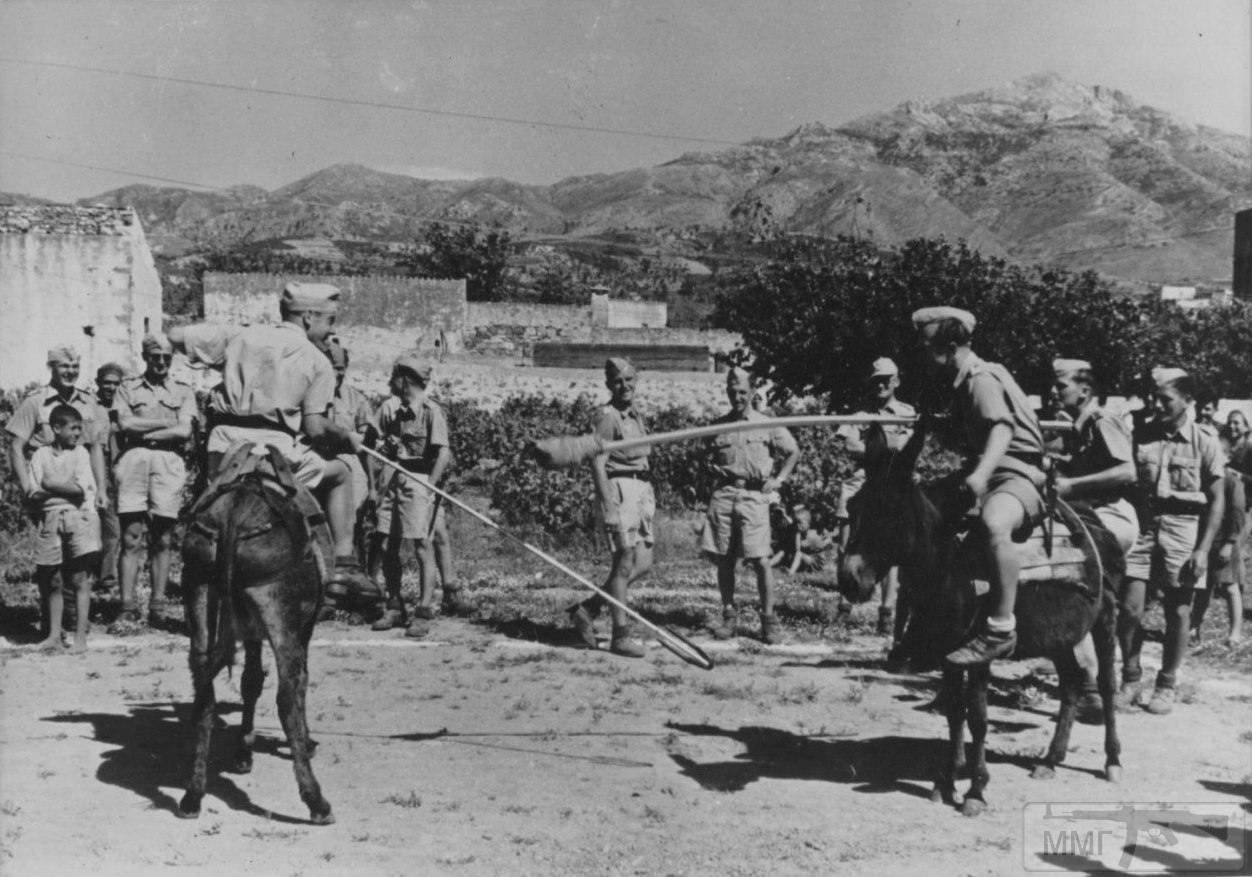14199 - Два немецких солдата верхом на ослах во время шутливого рыцарского турнира на Крите. 1941 год.