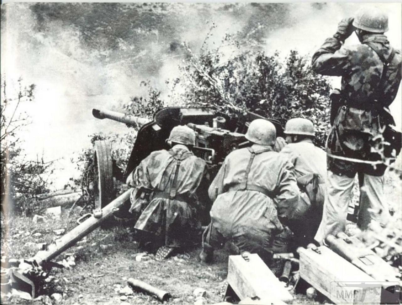 14201 - Расчет немецкой 50-мм противотанковой пушки PaK 38 в бою в Италии. 1944 год.