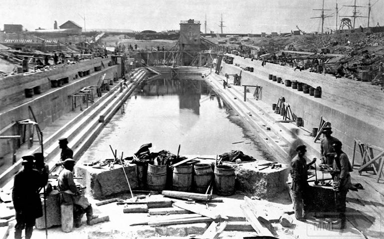 15284 - Строительство Константиновского дока на Пароходном (Морском) заводе, Кронштадт, 1870-е годы.