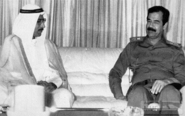 16293 - Глава Республики Кувейт Алла Хусейн Али на встрече с Саддамом Хусейном, 1990 год