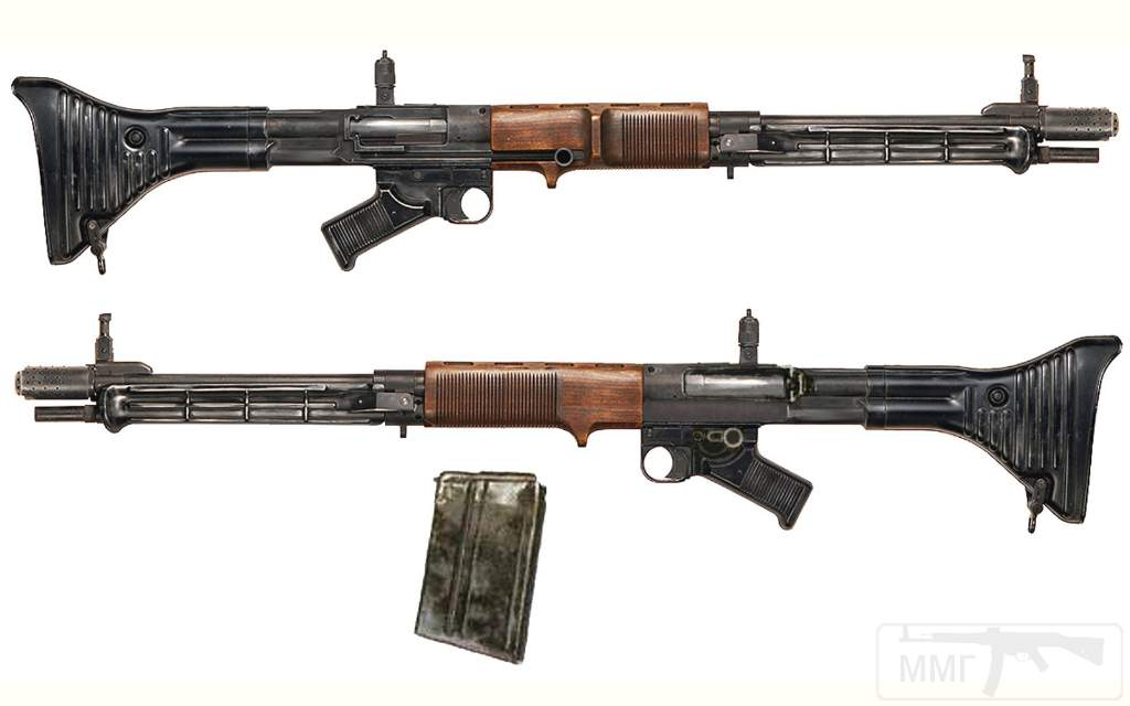 1886 - Fallschirmjдgergewehr 42, 1st model- Germany - produced 1943-1945 Caliber 7.92mm Kurz - 10 or 20 round box magazine - 900 rpm 3,000 produced