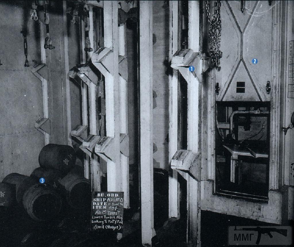 23095 - Нижний пороховой (зарядовый) погреб башни №3. В углу сложены шелковые картузы. Полный заряд 410-мм выстрела состоял из четырех таких частей