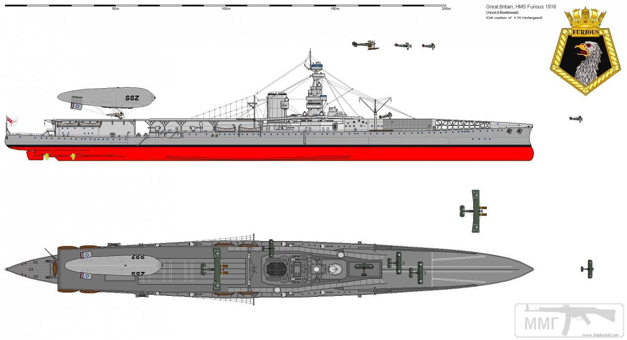 35305 - HMS Furious: внешний вид в 1918 году