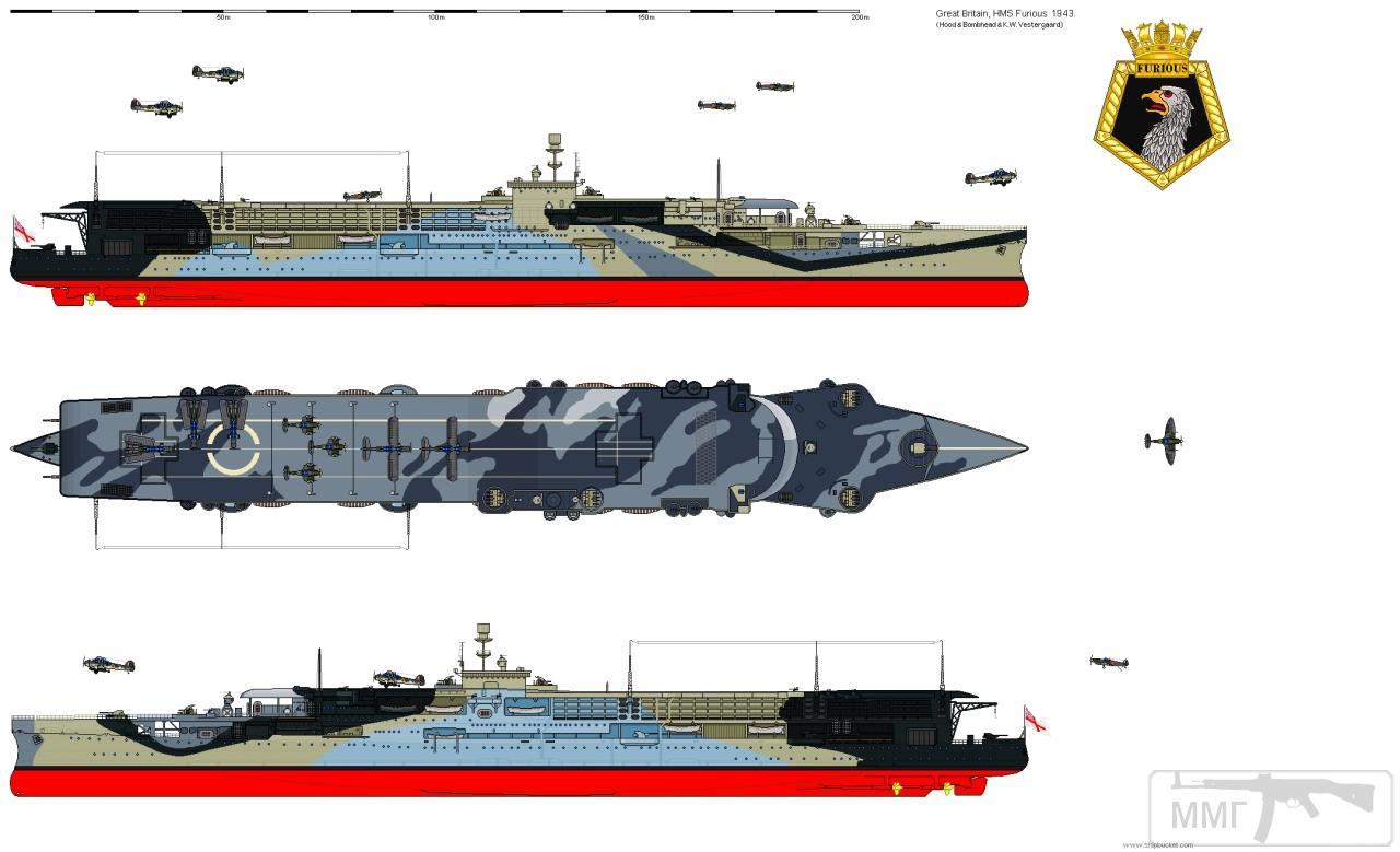 35307 - HMS Furious: внешний вид в 1943 году