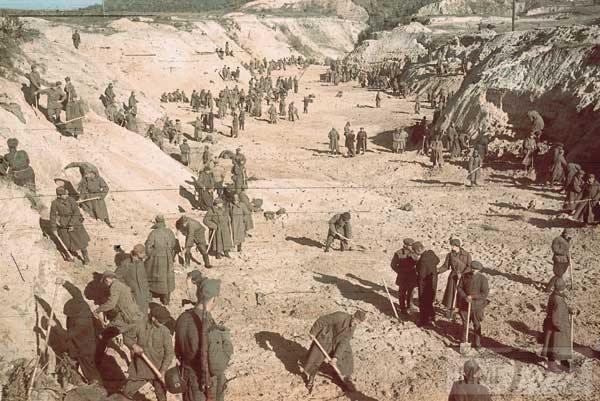36077 - Військовополонені засипають землею ділянку Бабиного Яру, де лежать розстріляні євреї. ФОТО:  Йоганнес Хелле, жовтень 1941 року