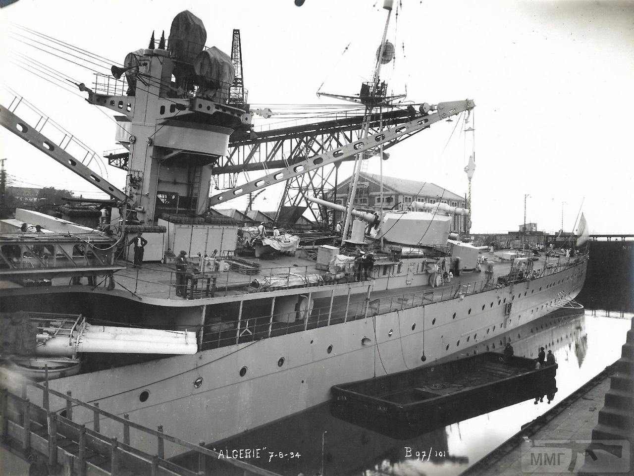 40114 - Тяжелый крейсер Algerie на креновании, 7 августа 1934 г.