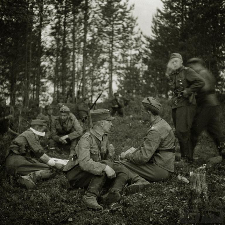 4265 - Финские офицеры, укрывшиеся в лесу после налёта советской авиации