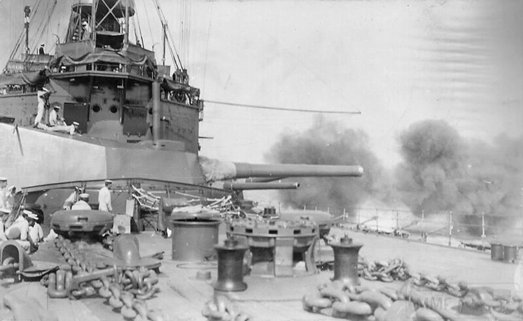 4403 - British battleship HMS Agamemnon bombarding the Dardanelles Straits March 1915