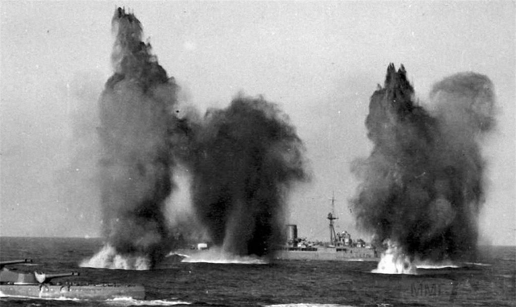 4479 - HMS Hood and Valiant under attack, along with HMS Ark Royal, from whose flight deck the photo was taken, by Italian SM79 bombers, in the Western Mediterranean on 9 July 1940.