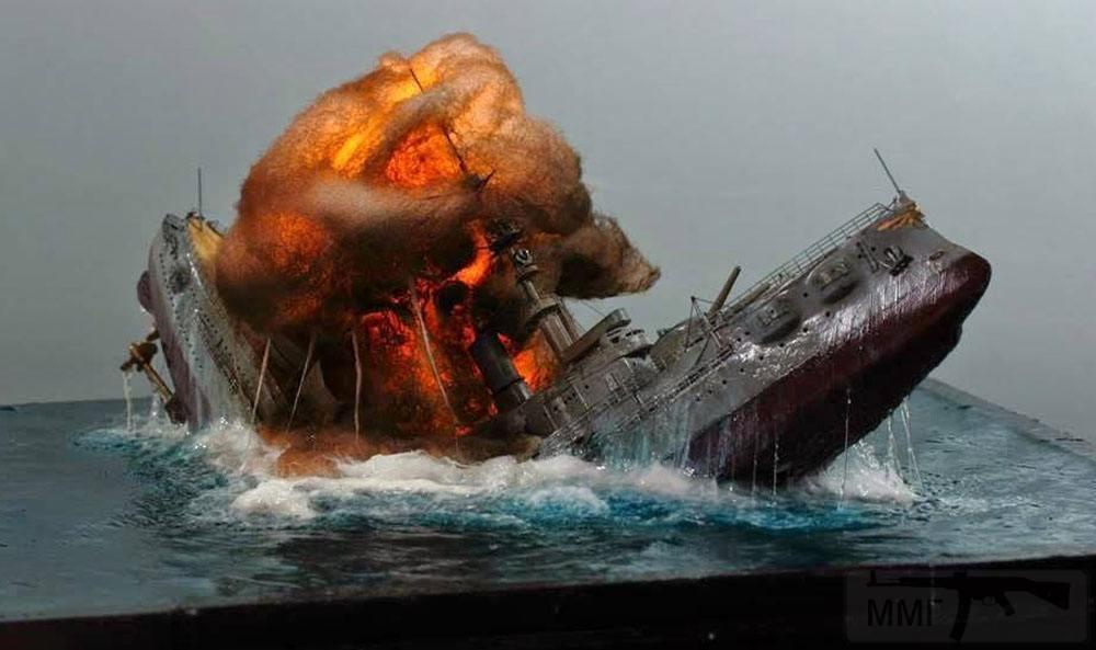 5222 - Макет-диорама, созданная моделистом Ян Мэн Цзяо (Yang Meng Chiao) и изображающая эпизод Ютландского боя 1916 года: гибель немецкого броненосца «Поммерн» («Pommern»). Масштаб диорамы – 1:350