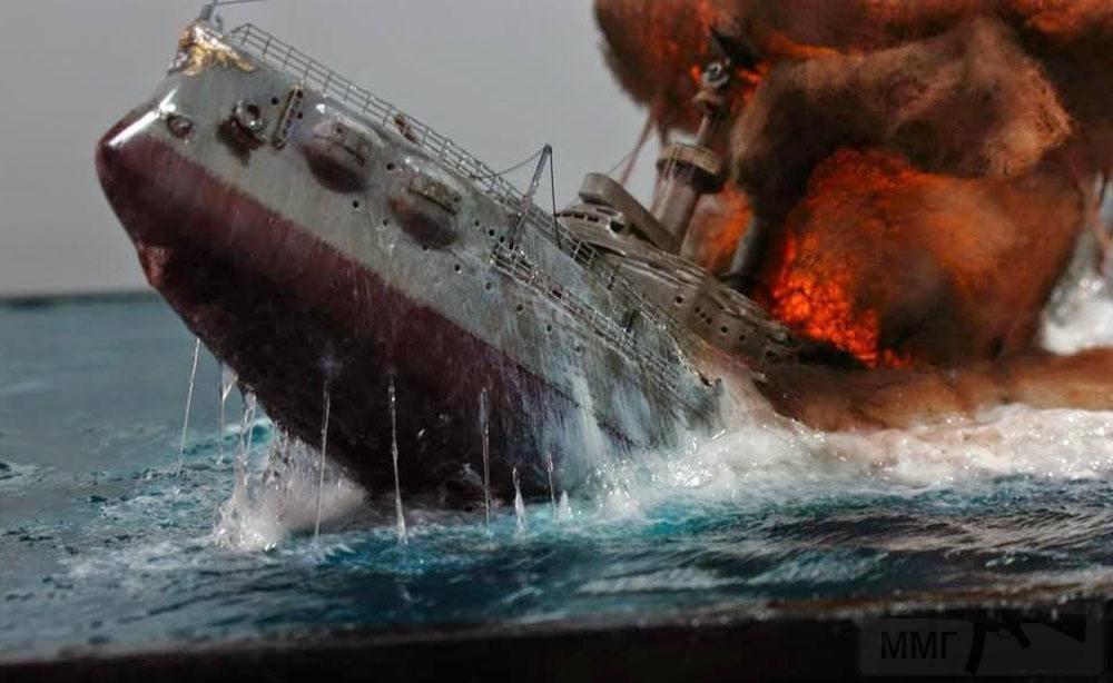 5224 - Макет-диорама, созданная моделистом Ян Мэн Цзяо (Yang Meng Chiao) и изображающая эпизод Ютландского боя 1916 года: гибель немецкого броненосца «Поммерн» («Pommern»). Масштаб диорамы – 1:350