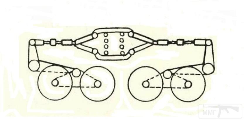 6080 - Эскиз тележки с четырьмя опорными катками и подвеской