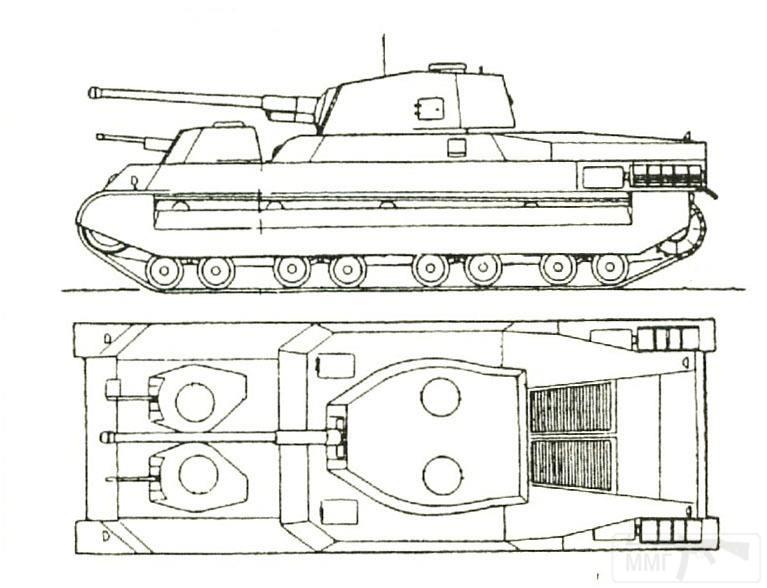 6082 - Наиболее распространённый вариант компоновки танка Type 100. Здесь опорных катков восемь