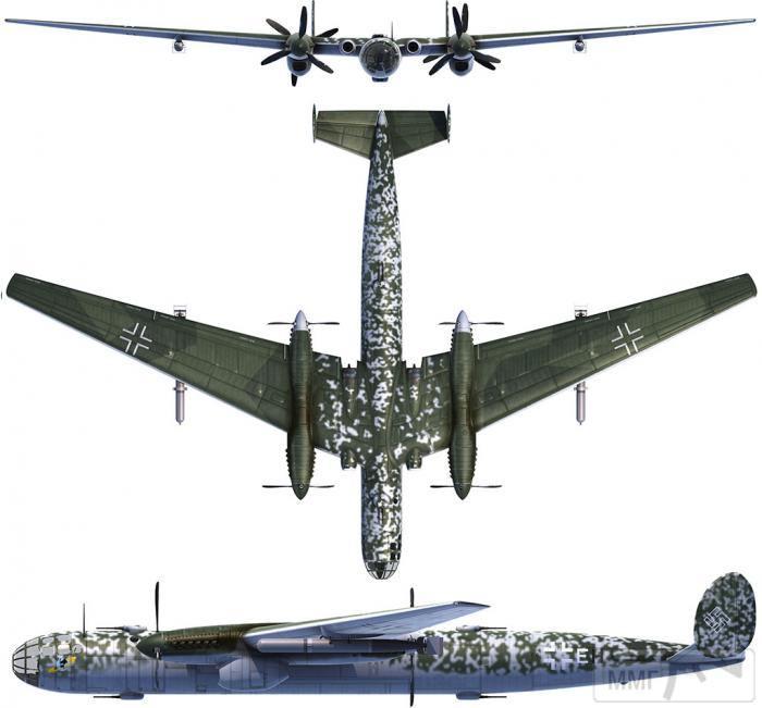 69296 - Messerschmitt Me P.1075 с четырьмя поршневыми двигателями и двумя реактивными в корневых частях крыльев.