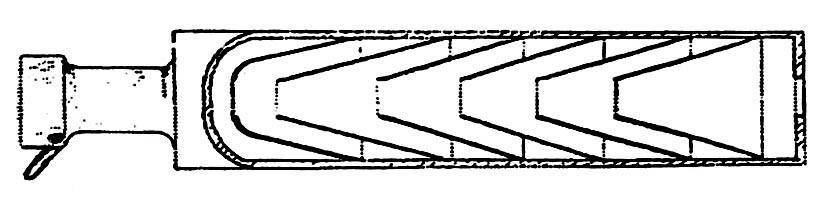 7497 - Один из вариантов глушителя к карабину «Маузер-98-К» состоял из шести кони¬ческих перегородок, отклоняющих газовый поток от центра к внутренней поверхности корпуса. В этой конструкции использован также отсекатель опережающих пулю газов, аналогично отечественному «Брамиту».