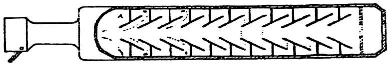 7498 - Имелся вариант глушителя к карабину «Маузер-98-К», в котором в плоские перегородки между камерами вставлены конические элементы, образующие вихревые камеры, из которых через ряд капиллярных отверстий газы стравливались наружу.