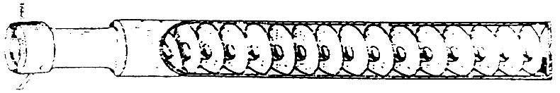 7499 - Глушитель «Маузер-98-К» существовал в варианте, имеющем длинный корпус небольшого диаметра, в котором была расположена по всей длине лента, свернутая в спираль (может изготавливаться способом токарной обработки). Поток пороховых газов, закручиваясь на спирали, проходил путь в несколько раз больше длины глушителя