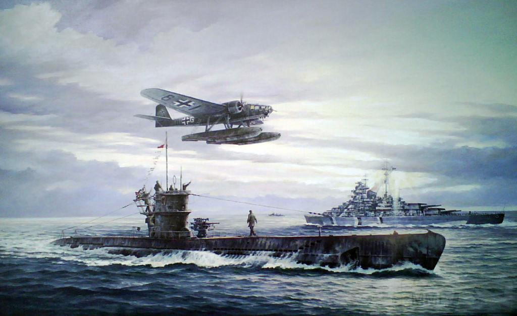 7723 - U-556 returns to base , in background battleship Bismarck
