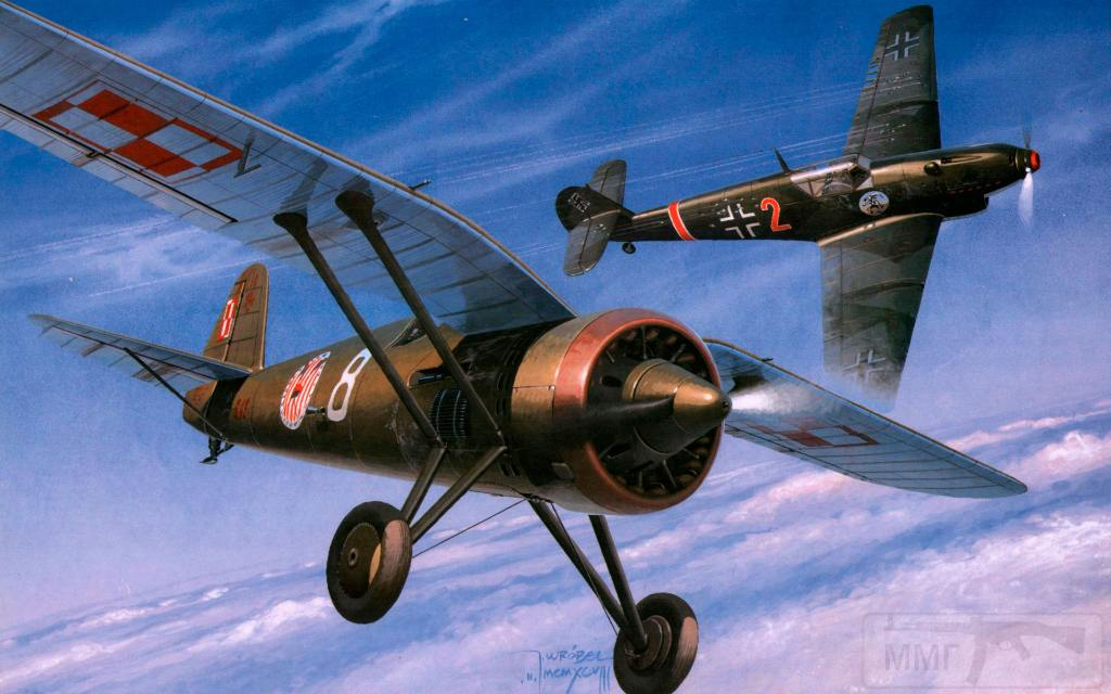 8015 - Польский истребитель PZL P.11 - один из лучших самолетов в 30-е годы, но безнадежно устаревший к 1939-му