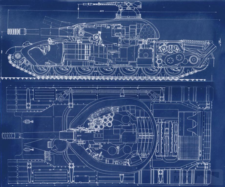 8093 - Компоновка Объекта 777 с двигателем водяного охлаждения. Заметно, что отличаются не только двигатель, но и форма кормы
