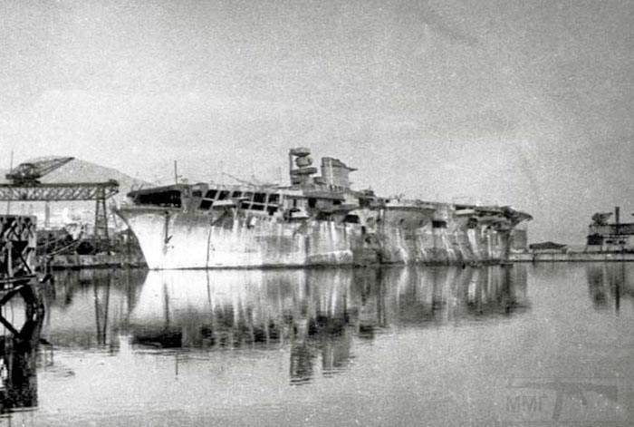 8611 - Aquila at Genoa in 1945, looking pretty rough, but free of her camouflage nets at last