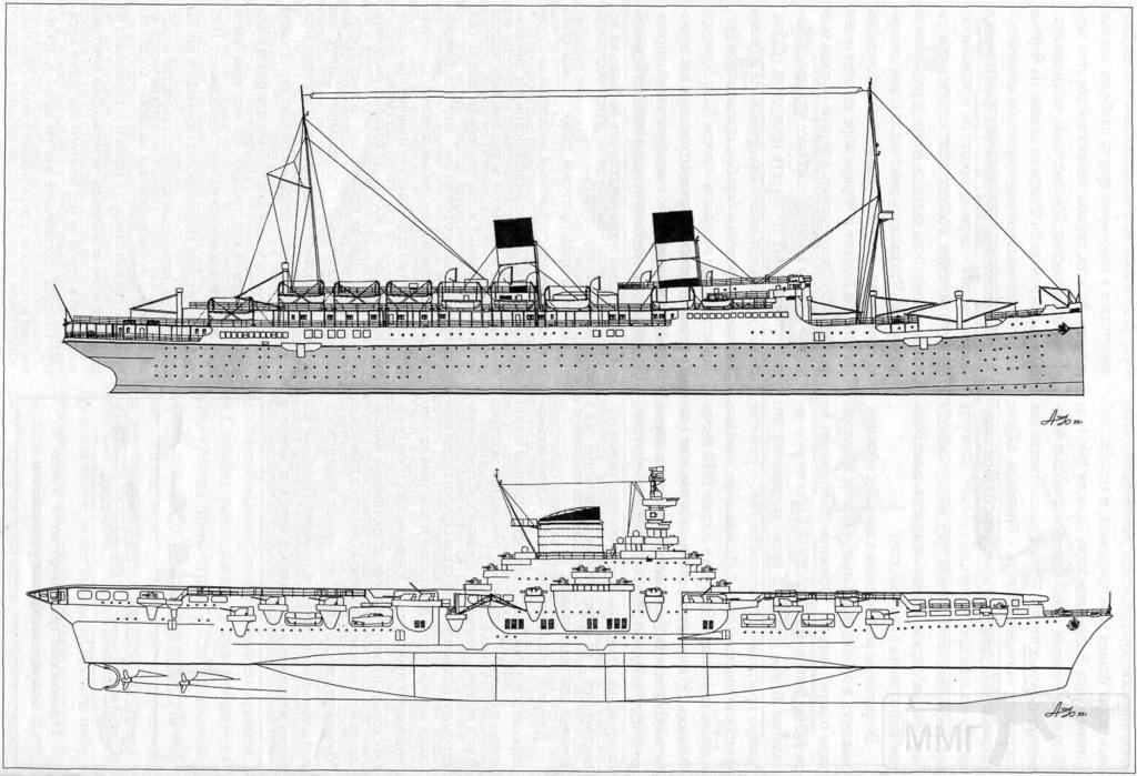 """8627 - Сравнивая внешний вид пассажирского лайнера """"Рома"""" (вверху) и переоборудованного из него авианосца """"Аквила"""", их родство улавливается, в основном, в подводной части. Естественен вопрос: с какой целью понадобилось переделывать форштевень, ведь трансатлантический лайнер и так отличался отменной мореходностью? Причина исключительно эстетическая!"""