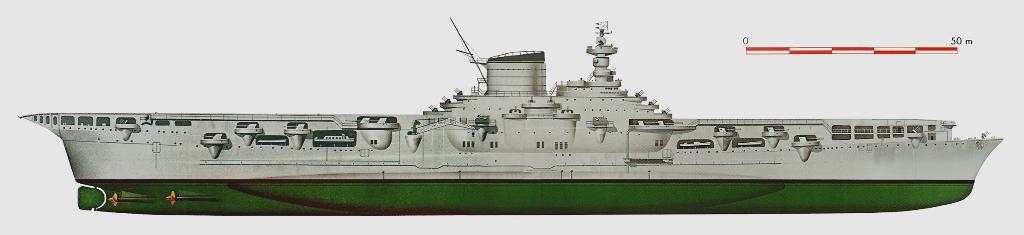 8631 - Авианосец «Аквила» (Италия). Водоизмещение стандартное 23 350 т, полное 27 800 т. Длина наибольшая 232,5 м, ширина 30,1 м, осадка 7,3 м. Мощность паротурбинной установки 151 000 л.с, скорость 29,5 узла. Экипаж 1420 чел. Вооружение: восемь 135-мм орудий, двенадцать 65-мм зениток, сто тридцать два 20-мм автомата, 51 самолет.