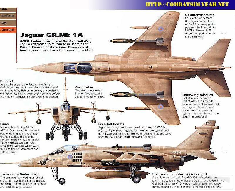 """8734 - Британские самолеты Jaguar GR-1A в операции """"Буря в пустыне"""" 1991 г."""