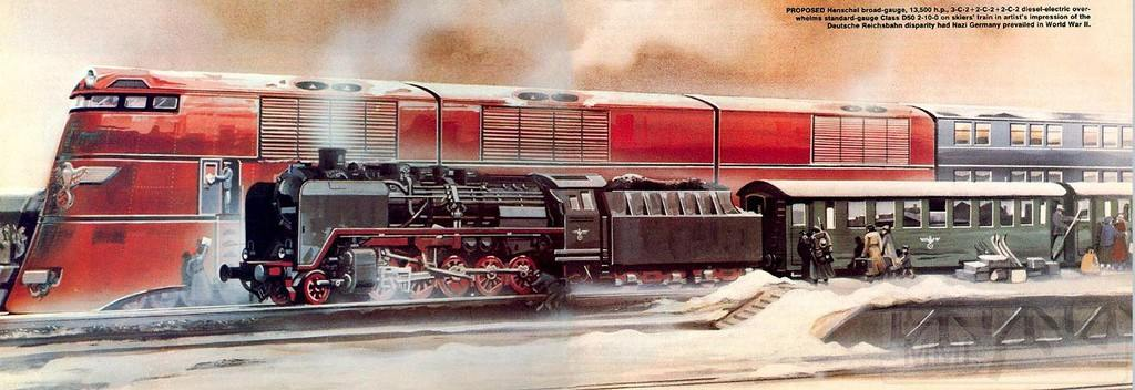 9028 - Сравнение сверхширококолейного локомотива с обычным паровозом начала 1940-х