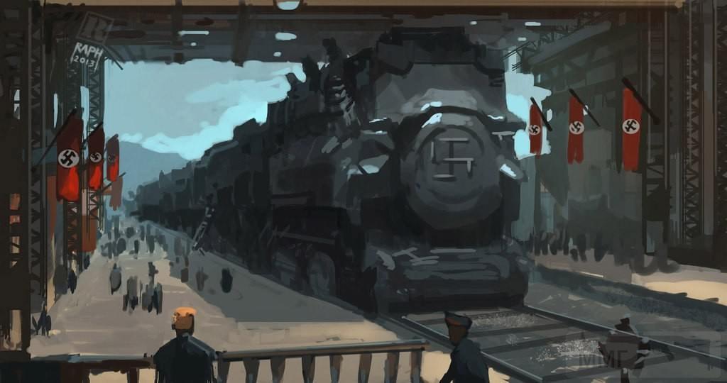 9029 - Сверхширококолейный железнодорожный поезд заходит в крытый вокзал
